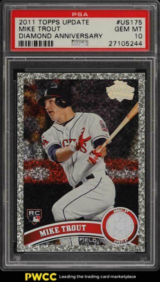 2011 Topps Update Diamond Anniversary Mike Trout Rookie Rc Us175 Psa 10 (pwcc)