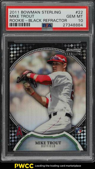 2011 Bowman Sterling Black Refractor Mike Trout Rookie Rc /25 22 Psa 10 (pwcc)