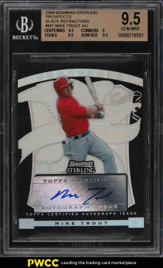 2009 Bowman Sterling Black Refractor Mike Trout Rookie Auto /25 Bgs 9.  5 (pwcc)