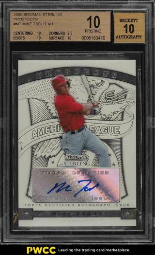 2009 Bowman Sterling Prospects Mike Trout Rookie Rc Auto Bgs 10 Pristine (pwcc)