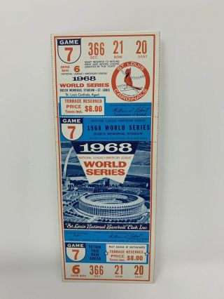 1968 World Series Game 7 Full Ticket & All Paperwork Cardinals Vs Tigers