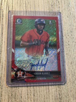 Yordan Alvarez 2018 Bowman Chrome Red Shimmer Auto 1/5.
