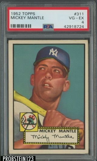 "1952 Topps 311 Mickey Mantle Yankees Rc Hof Psa 4 High "" Nicely Centered """