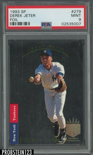 "1993 Sp Foil 279 Derek Jeter Yankees Rc Rookie Psa 9 "" High End """