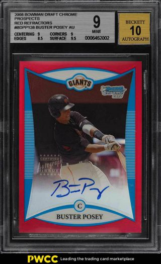 2008 Bowman Chrome Red Refractor Buster Posey Rookie Rc Auto /5 Bgs 9 Mt (pwcc)