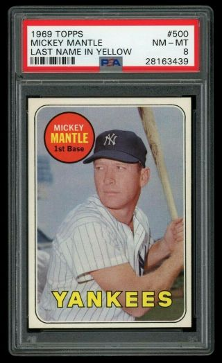 1969 Topps Mickey Mantle 500 Psa 8 Nm -,  Centered High End Example