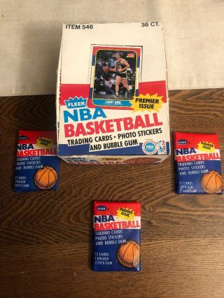 1986 Fleer Basketball Michael Jordan Rookie And Magic Johnson Sticker Wax Pack