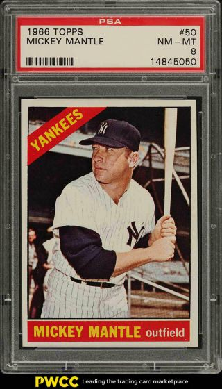 1966 Topps Mickey Mantle 50 Psa 8 Nm - Mt (pwcc)