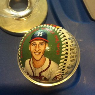 Monty Sheldon Painted Baseball Warren Spahn 1st Commissioned Baseball 1998
