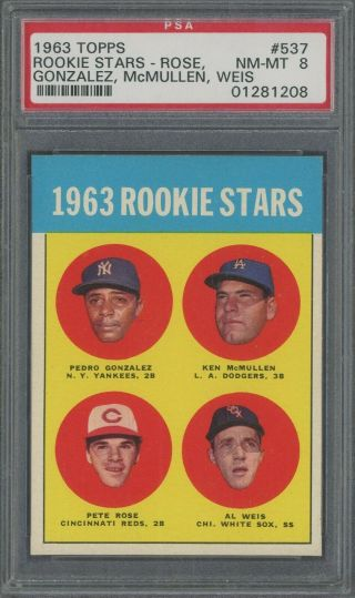 1963 Topps 537 Pete Rose Cincinnati Reds Rc Rookie Psa 8 Nm - Mt Hot Card