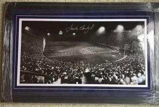 Sandy Koufax 12x23 Signed Dodgers Night Game Photo Mlb Auth Framed Blue Suede