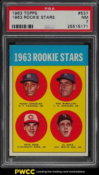 1963 Topps Pete Rose Rookie Rc 537 Psa 7 Nrmt (pwcc)