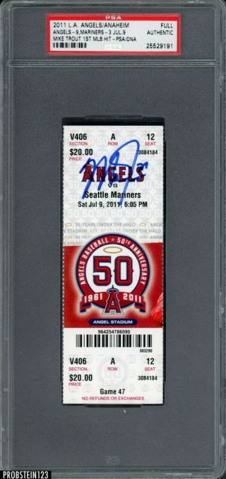 2011 Angels Vs.  Mariners Full Ticket Mike Trout 1st Mlb Hit Psa/dna