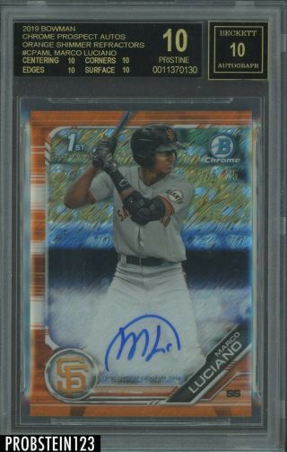 2019 Bowman Chrome Orange Shimmer Refractor Marco Luciano Rc Bgs 10 Black Label