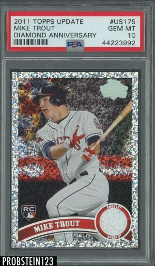 2011 Topps Update Diamond Anniversary Us175 Mike Trout Angels Rc Psa 10