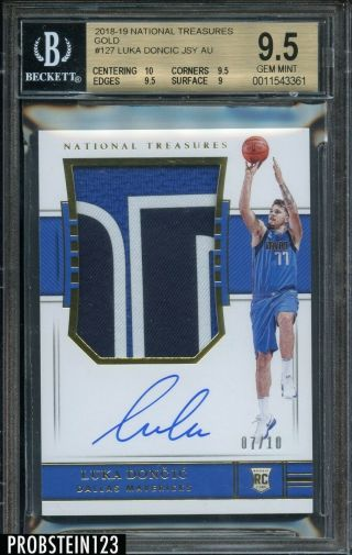 2018 - 19 National Treasures Gold Luka Doncic Rc Rpa Patch Jersey 7/10 Bgs 9.  5