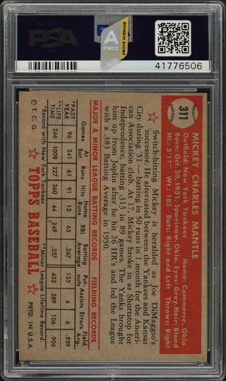 1952 Topps Mickey Mantle 311 PSA 8 NM - MT (PWCC - A) - Certified Top 30 2