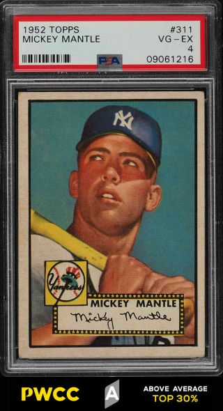 1952 Topps Mickey Mantle 311 Psa 4 Vgex (pwcc - A)