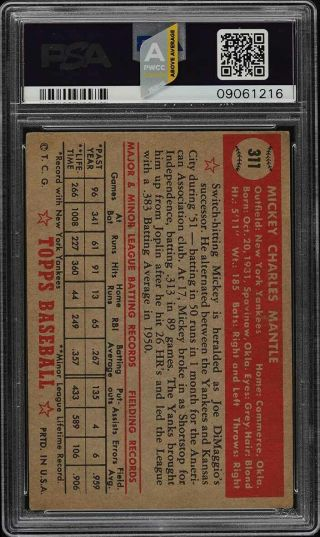 1952 Topps Mickey Mantle 311 PSA 4 VGEX (PWCC - A) 2