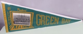 Green Bay Packers 1965,  66,  67 World Champions Pennant With Team Photo Very Scarce