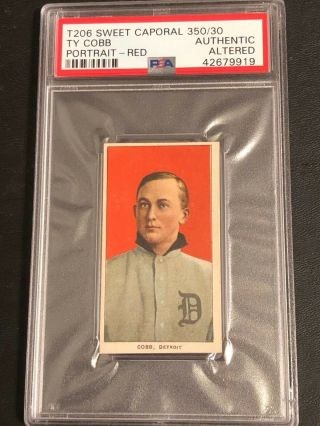 1909 - 11 T206 Ty Cobb Red Portrait Psa Authentic Altered Sharp