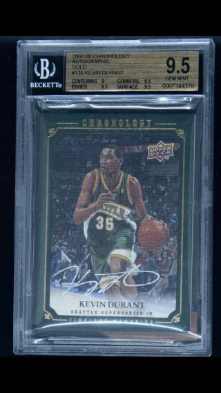 2007 - 08 Ud Chronology Gold 135 Kevin Durant Rc Rookie Auto /10 Bgs 9.  5 Pop 1