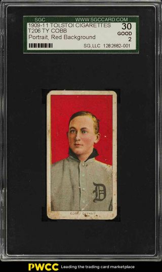 1909 - 11 T206 Ty Cobb Red Portrait,  Tolstoi Sgc 2 Gd (pwcc)