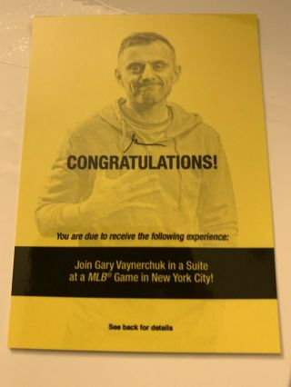 "Mlb Game In Nyc With Gary Vaynerchuck ""gary Vee"" Topps National Golden Ticket"