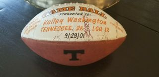University Of Tennessee Football 1991 Kelley Washington Game Ball