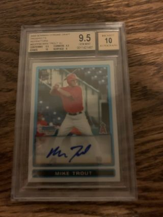 2009 Bowman Chrome Refractor Mike Trout Angels Bgs 9.  5