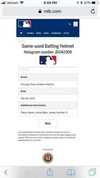 Javier Baez Game auto Helmet El Mago Chicago Cubs MLB Holo authenticated 4