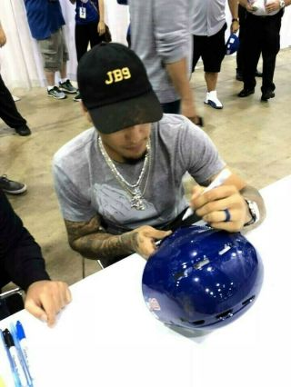 Javier Baez Game auto Helmet El Mago Chicago Cubs MLB Holo authenticated 8