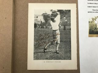 Bobby Jones 6x4 Autographed Book Page With Letter Of Authenticity Legend Of Golf