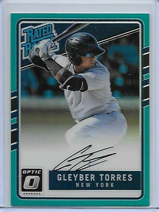 2019 Donruss Optic Gleyber Torres 2017 Rated Rookie Auto Blue Prizm /99