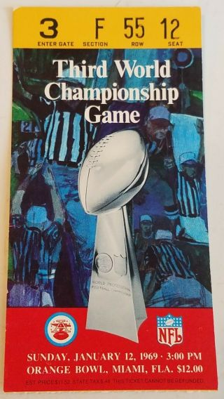 Bowl Iii (3) Ticket Stub Baltimore Colts Ny Jets 1969