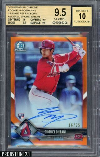 2018 Bowman Chrome Orange Refractor Shohei Ohtani Angels Rc Auto 16/25 Bgs 9.  5