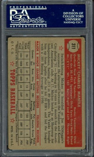 1952 Topps 311 Mickey Mantle York Yankees RC Rookie HOF PSA 2.  5 HIGH 2