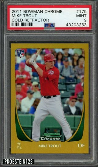 2011 Bowman Chrome Gold Refractor 175 Mike Trout Angels Rc Rookie /50 Psa 9
