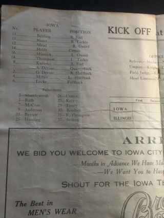 Hawkeyes 1921 Iowa Homecoming Football v Ill Fighting Illini: Will Sell 12