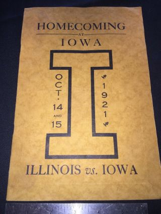Hawkeyes 1921 Iowa Homecoming Football V Ill Fighting Illini: Will Sell