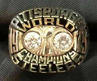 1975 Pittsburgh Steelers Bowl X Championship Ring Harris Balfour 10k 43.  1g