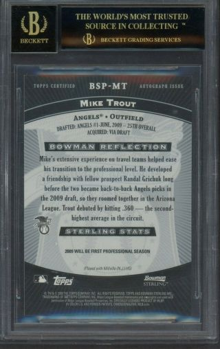 2009 Bowman Sterling MT Mike Trout Angels RC Rookie AUTO BGS 10 BLACK LABEL 2