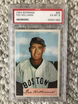 1954 Bowman Ted Williams Psa 6 Ex - Mt 66 Boston Red Sox
