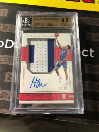 Shai Gilgeous - Alexander 2018 - 19 National Treasures Rookie Patch Auto/99 Bgs 9.  5