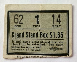 1933 Mlb All - Star Game At Chicago Rain Check Ticket Stub