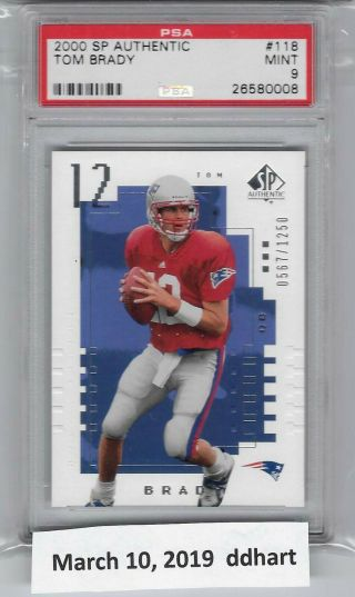 2000 Sp Authentic Tom Brady Rookie Rc /1250 118 Psa 9
