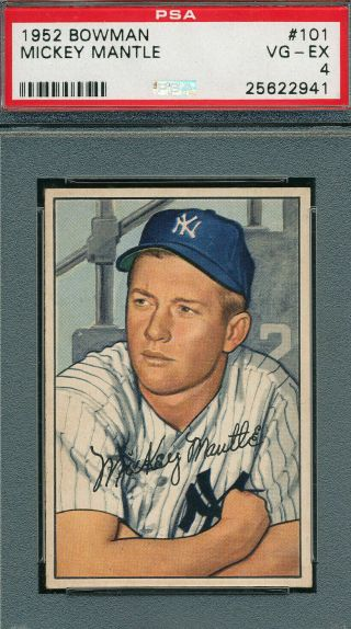1952 Bowman 101 Mickey Mantle Psa 4 - Centered,  Focused And No Print Marks