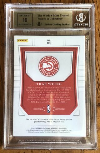 2018 - 19 National Treasures Trae Young Patch Auto ED 4/10 BGS 9.  5/10 GOLD RC RPA 2