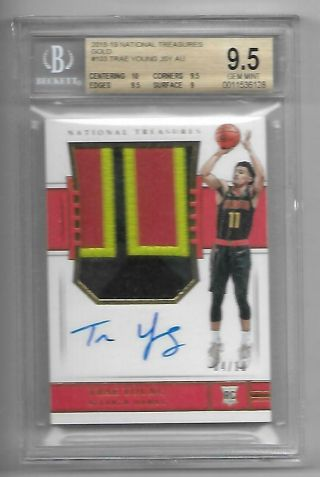 2018 - 19 National Treasures Trae Young Patch Auto ED 4/10 BGS 9.  5/10 GOLD RC RPA 3