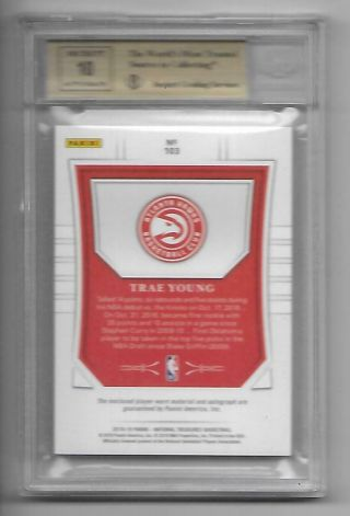 2018 - 19 National Treasures Trae Young Patch Auto ED 4/10 BGS 9.  5/10 GOLD RC RPA 4